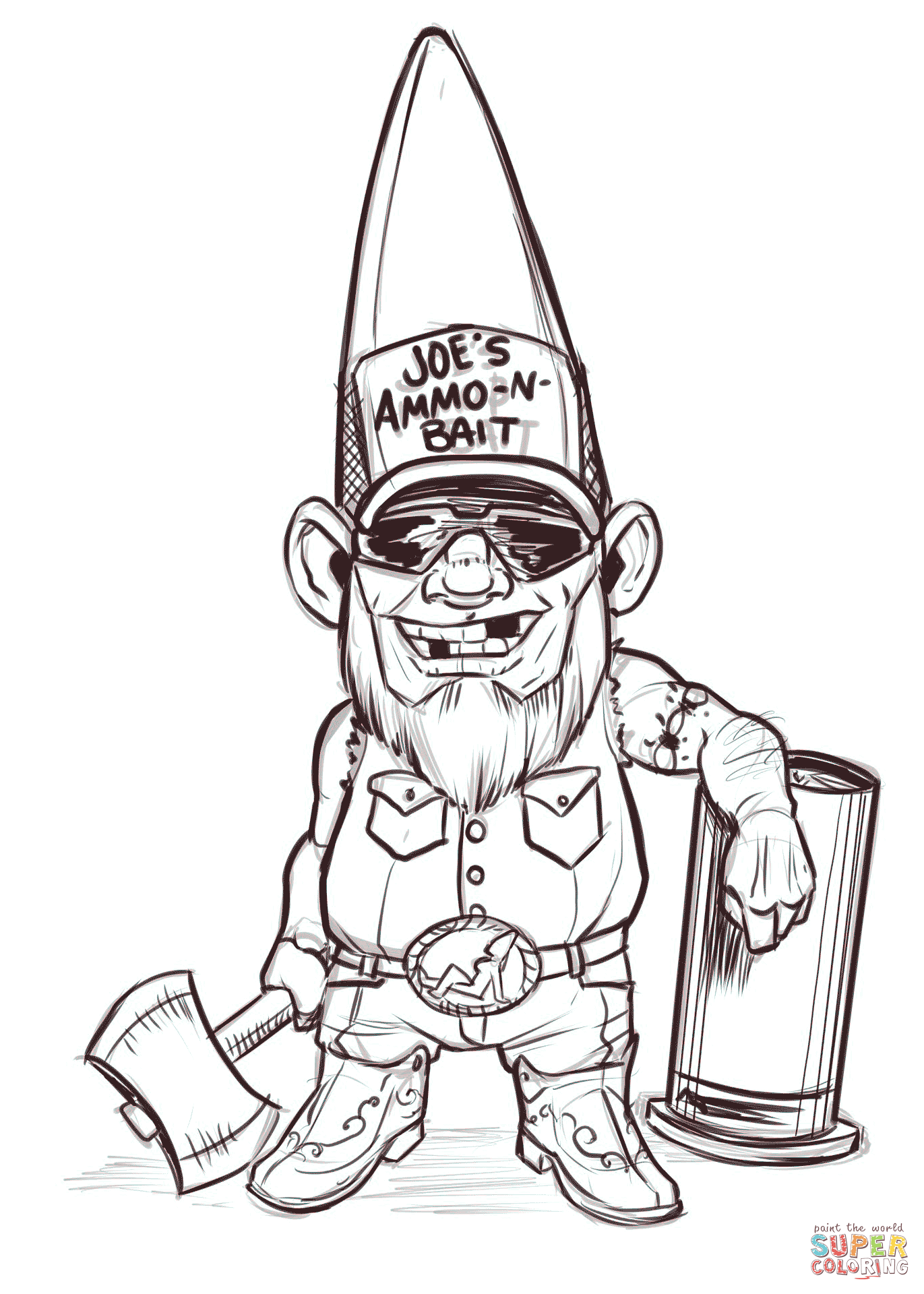 1371x1920 Redneck Gnome Coloring Page Free Printable Pages