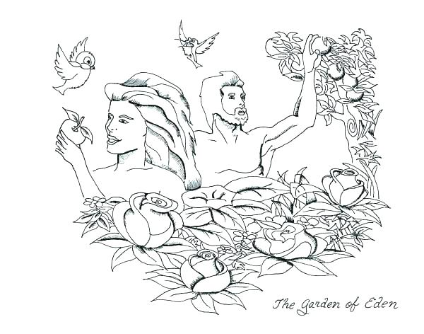 600x472 Garden Of Eden Coloring Pages Free Printable And Eve Sheet