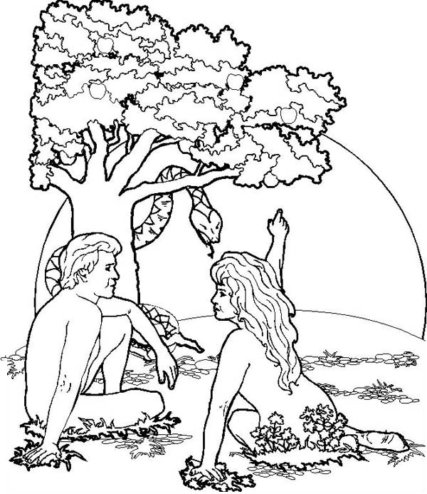 600x693 Garden Of Eden Where Adam And Eve Was Live Coloring Page