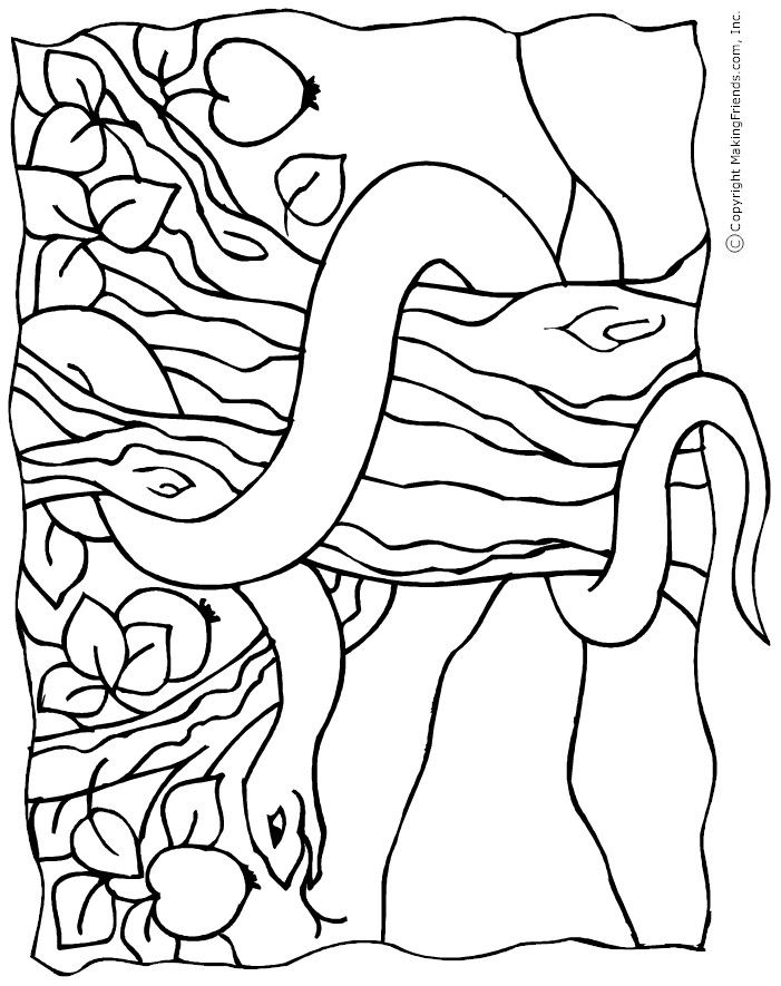 701x885 Snake In The Garden Of Eden Colouring Page The Creation Story