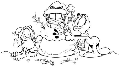 498x276 Garfield Christmas Coloring Pages Garfield In Snow Free Coloring