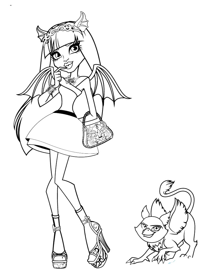 800x1024 Monster High Rochelle Gregory Goyle With Pets Coloring Page