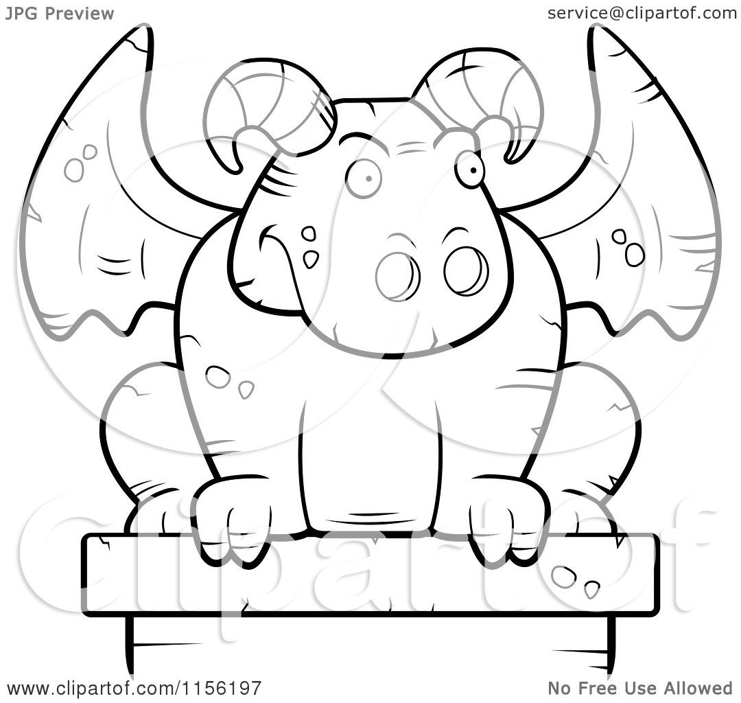 1080x1024 Cartoon Clipart Of A Black And White Guardian Gargoyle Stone