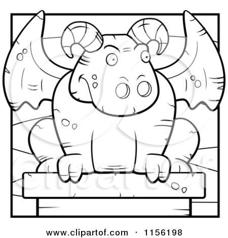 450x470 Cartoon Clipart Of A Black And White Stone Guardian Gargoyle