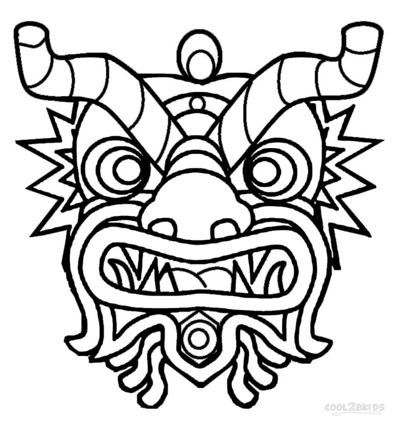 800x850 Chinese Dragon Mask Coloring Page
