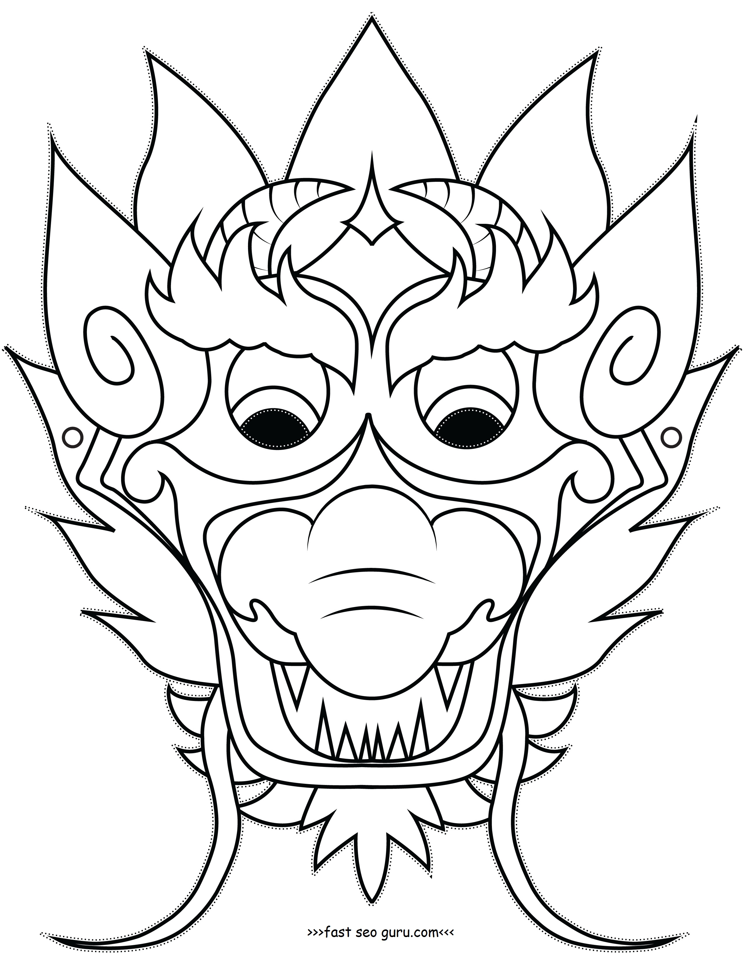 2550x3300 Chinese Mask Coloring Pages