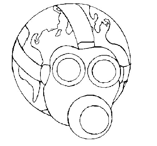 505x470 Earth With Gas Mask Coloring Page