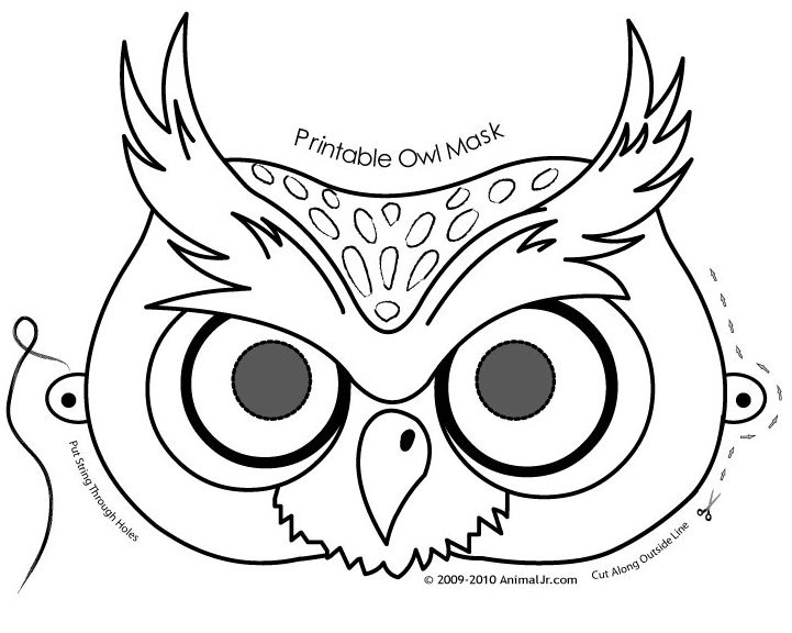 721x576 Face Coloring Printable Halloween Masks Owl Mask Page