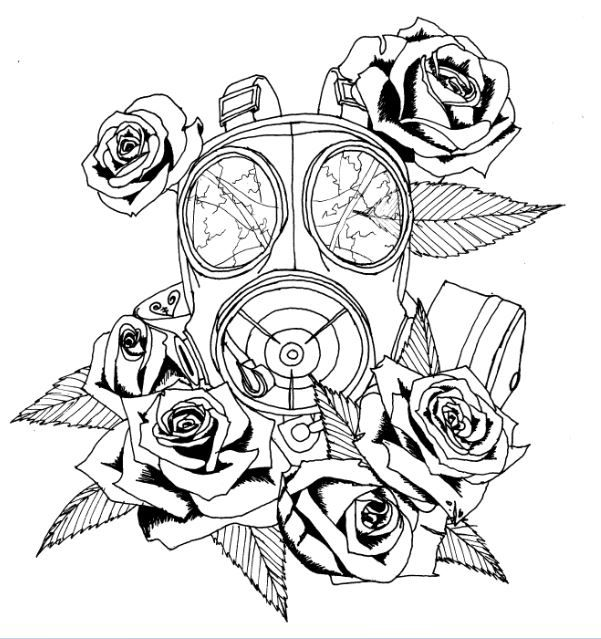 601x639 I Want A Gas Mask Tattoo Wit Dead Flowers To Signify How Toxic