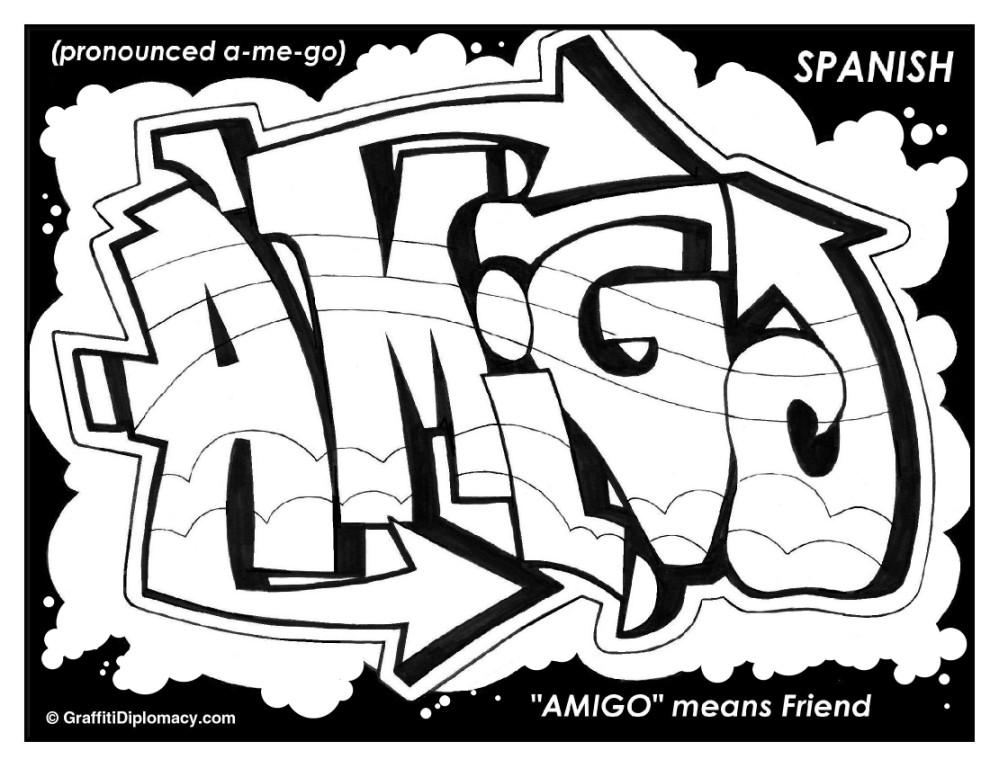 999x768 Multicultural Graffiti Free Coloring Pages