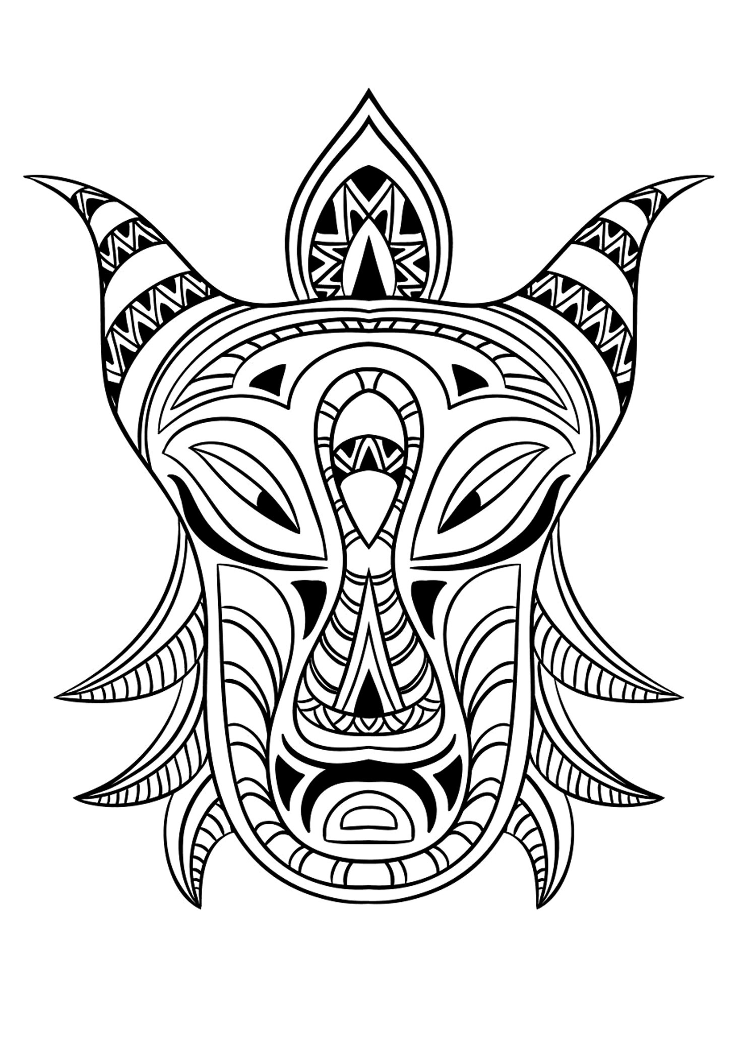 1484x2076 Quality African Mask Coloring Page Nice Masquerade Pages Photos