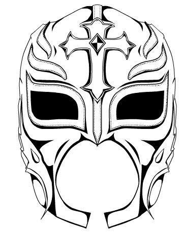 358x461 Wrestling Mask Coloring Page