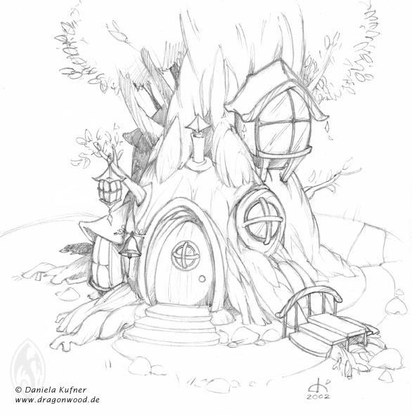 586x591 Fairy Tree House Coloring Pages Google Search Design Kids