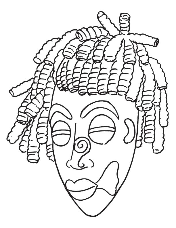 612x792 African Mask Coloring Pages