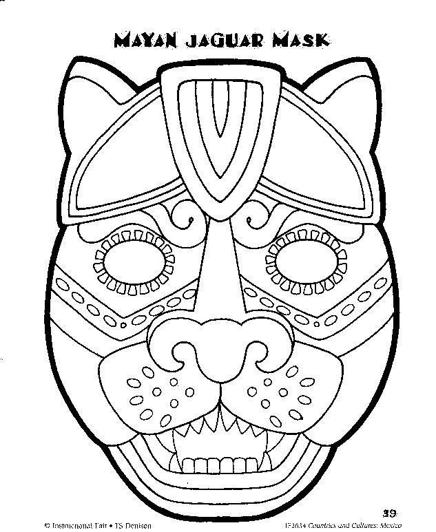633x773 Aztec Mask Coloring Pages