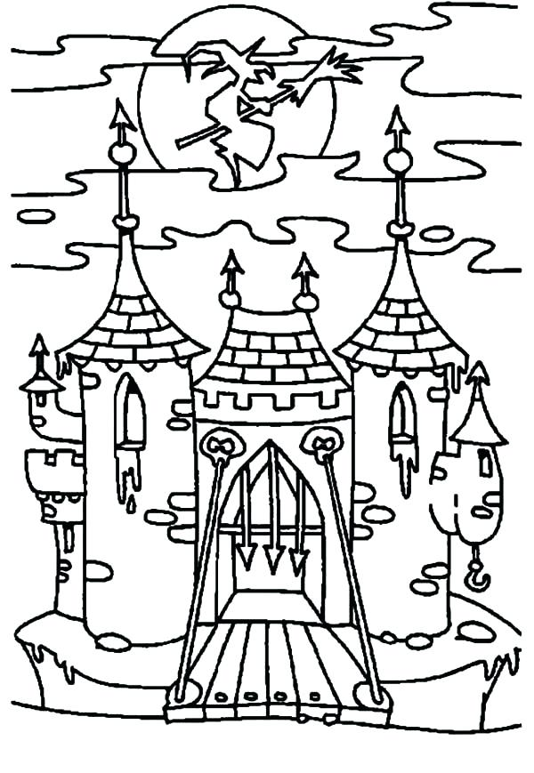600x869 Haunted House Coloring Page Gate Coloring Page Witch Haunted House