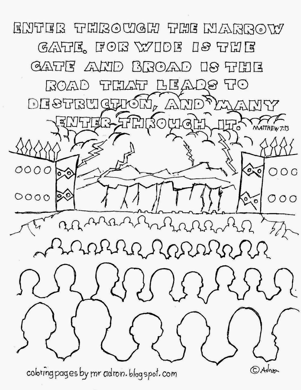 1235x1600 Enter Through The Narrow Gate Coloring Page See More