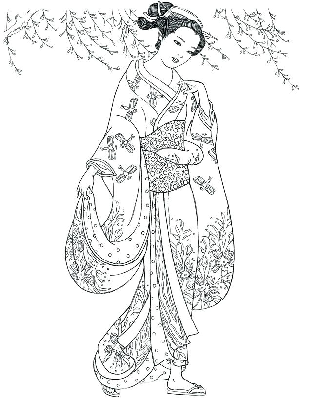 650x861 Geisha Coloring Pages Geisha Coloring Pages Adult Coloring Pages