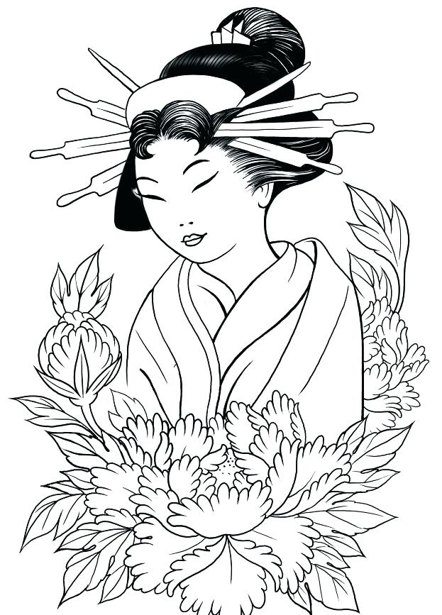 623x867 Geisha Coloring Pages Waving Geisha Coloring Page Geisha Coloring