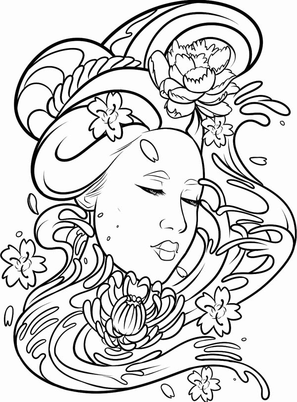 600x813 Deviant Art Of A Geisha Coloring Page