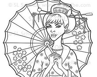 340x270 Drawn Geisha Umbrella