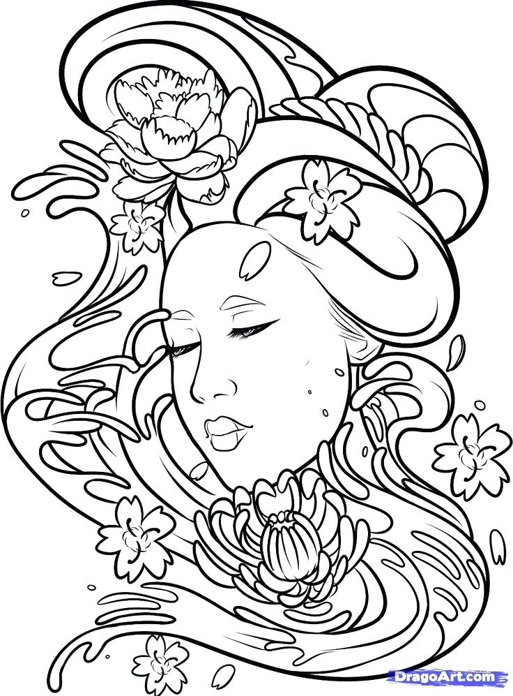 736x997 Geisha Coloring Pages Black And White Girl