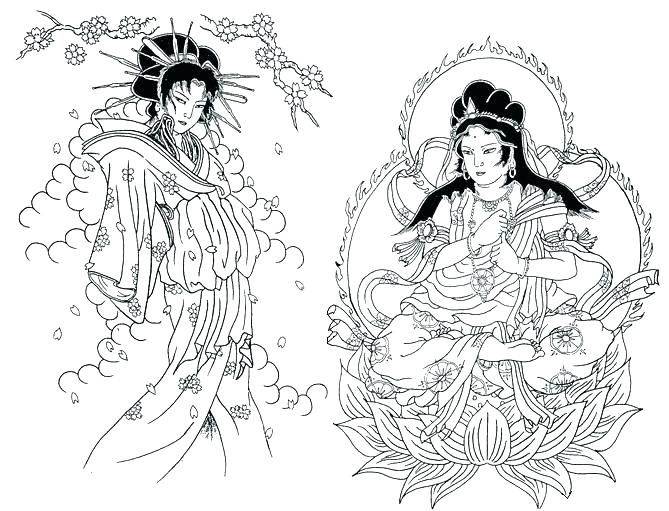 669x511 Geisha Coloring Pages