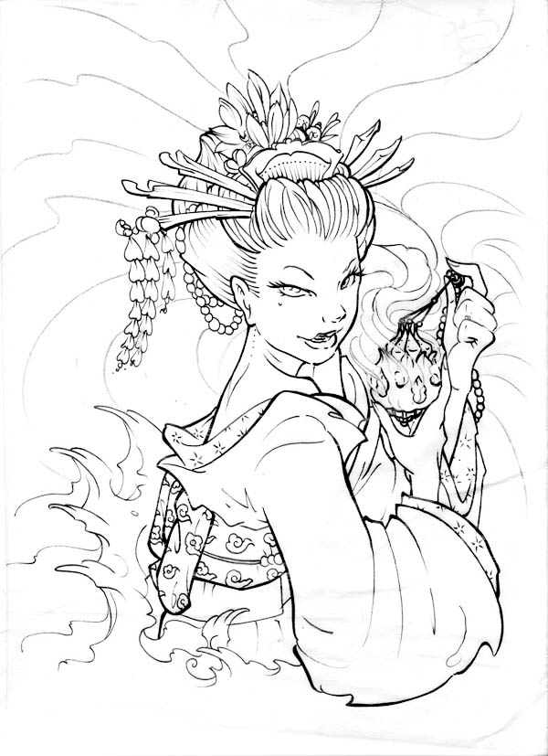 600x827 Geisha Love Poison Coloring Page