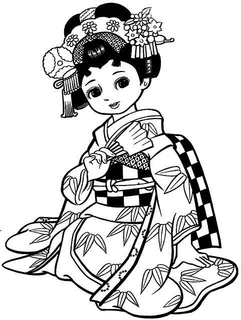 481x640 Maravilhosas Meninas Japonesas Com Kimonos Para Colorir Japanese