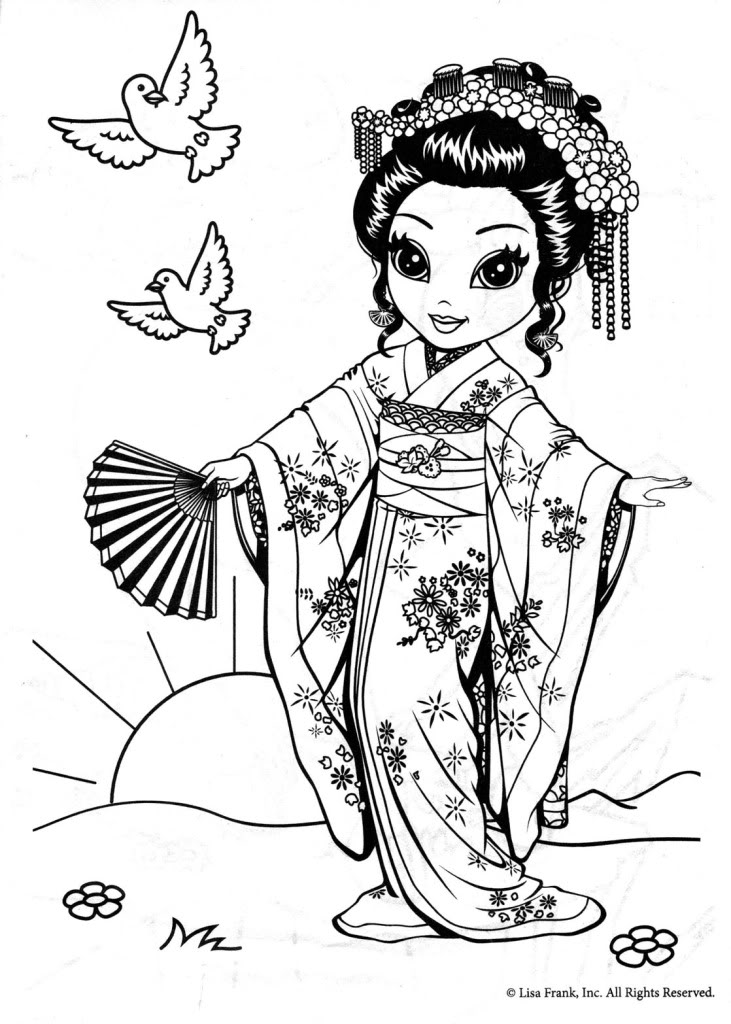 731x1024 Printable Geisha Coloring Pages