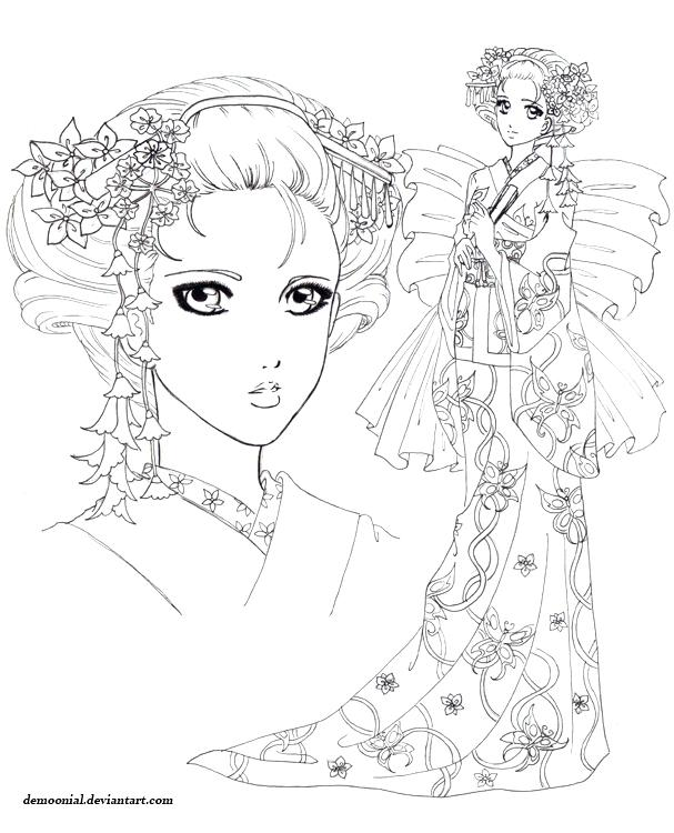 607x750 Printable Geisha Coloring Pages Printable Coloring Coloring Page