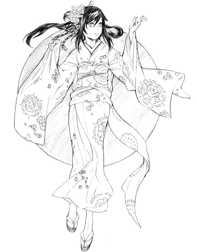663x850 Adult Coloring Page Japan Japan Kimono