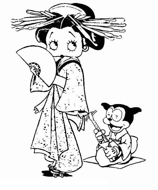 600x720 Betty Boop Geisha Coloring Page