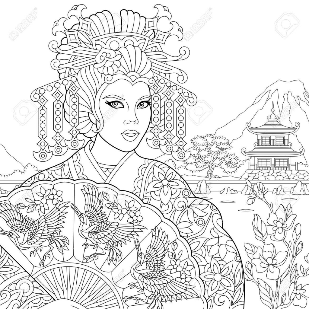 1024x1024 Coloring Page Of Geisha Japanese Dancing Actress Holding Paper