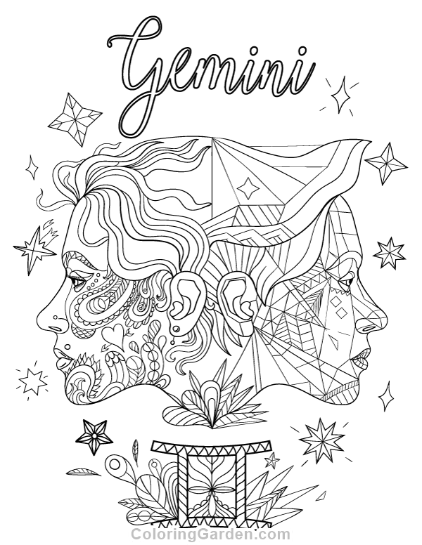 600x776 Free Printable Gemini Adult Coloring Page Download It In Pdf