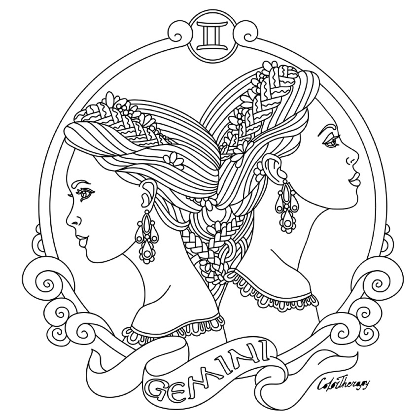 850x850 Gemini Coloring Pages Gemini Zodiac Beauty Colouring Page Adult