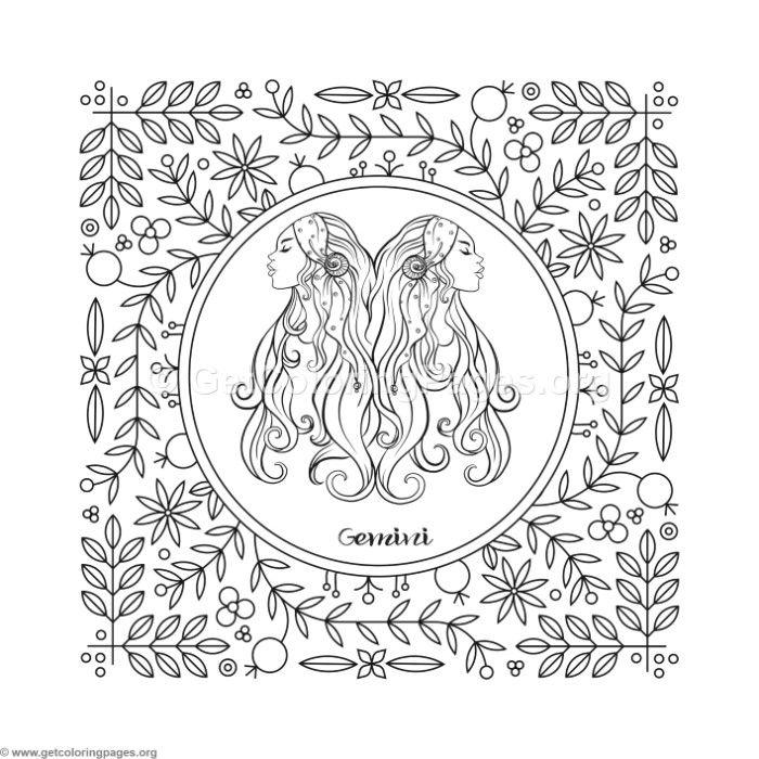 700x700 Gemini Zodiac Element Coloring Pages
