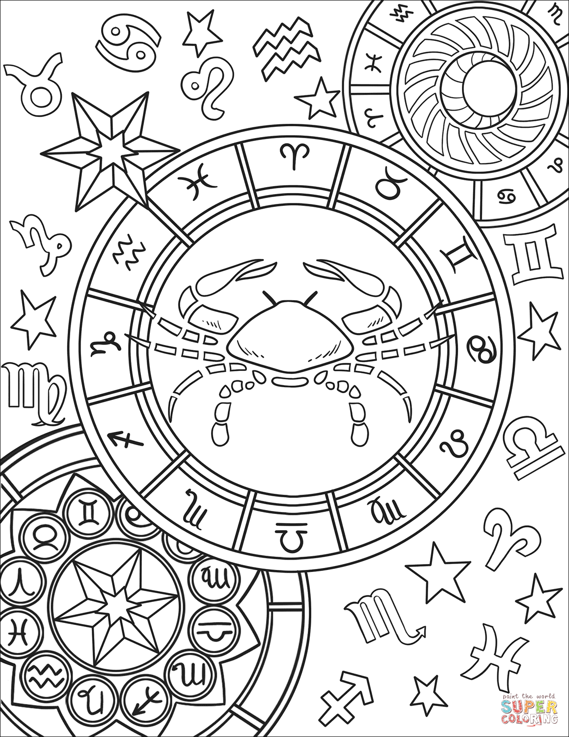 1159x1500 Gemini Zodiac Sign Coloring Page With Signs Pages
