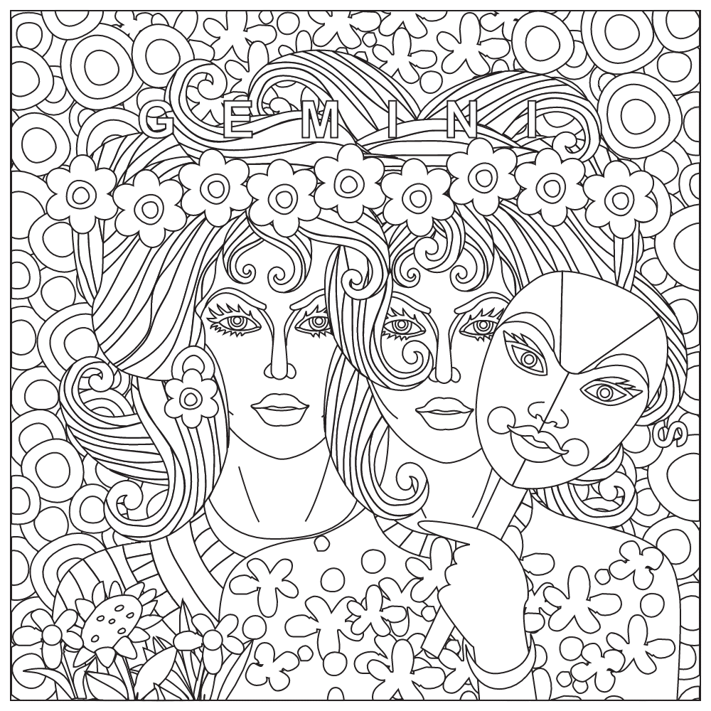 1000x1000 Gemini Coloring Page Zodiac Coloring Pages For Adults