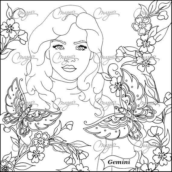 570x570 Masjas Zodiac Sign Gemini Coloring Page Made