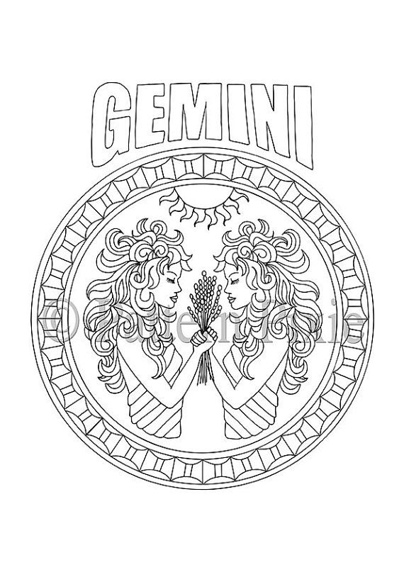 570x807 Adult Coloring Page Zodiac Gemini Gemini, Adult Coloring And Zodiac