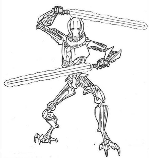 600x638 Star Wars Coloring Pages General Grievous