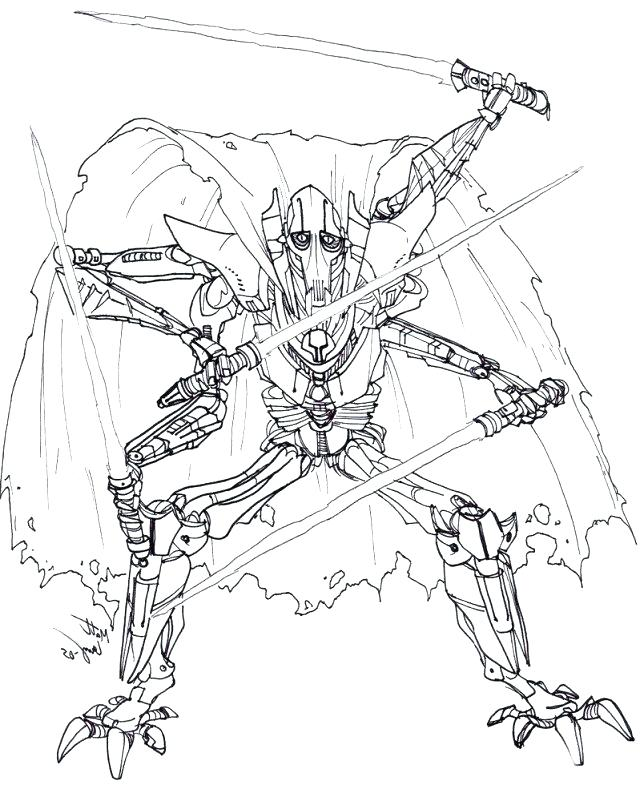640x801 General Grievous Coloring Pages More Like O O