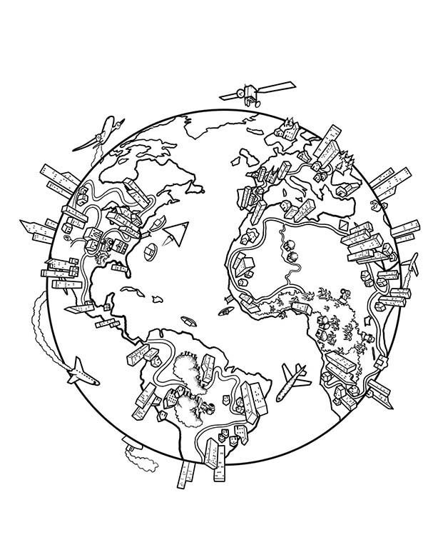 600x777 Earth Population Globe In World Map Coloring Page Prek Geography