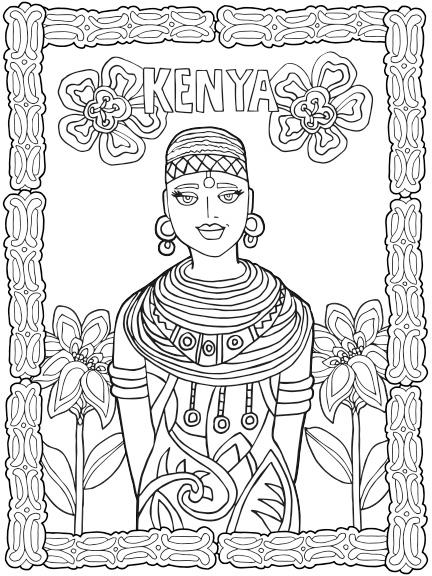 432x576 Kenya Coloring Pages Color The World Maasai Kenya Worksheets