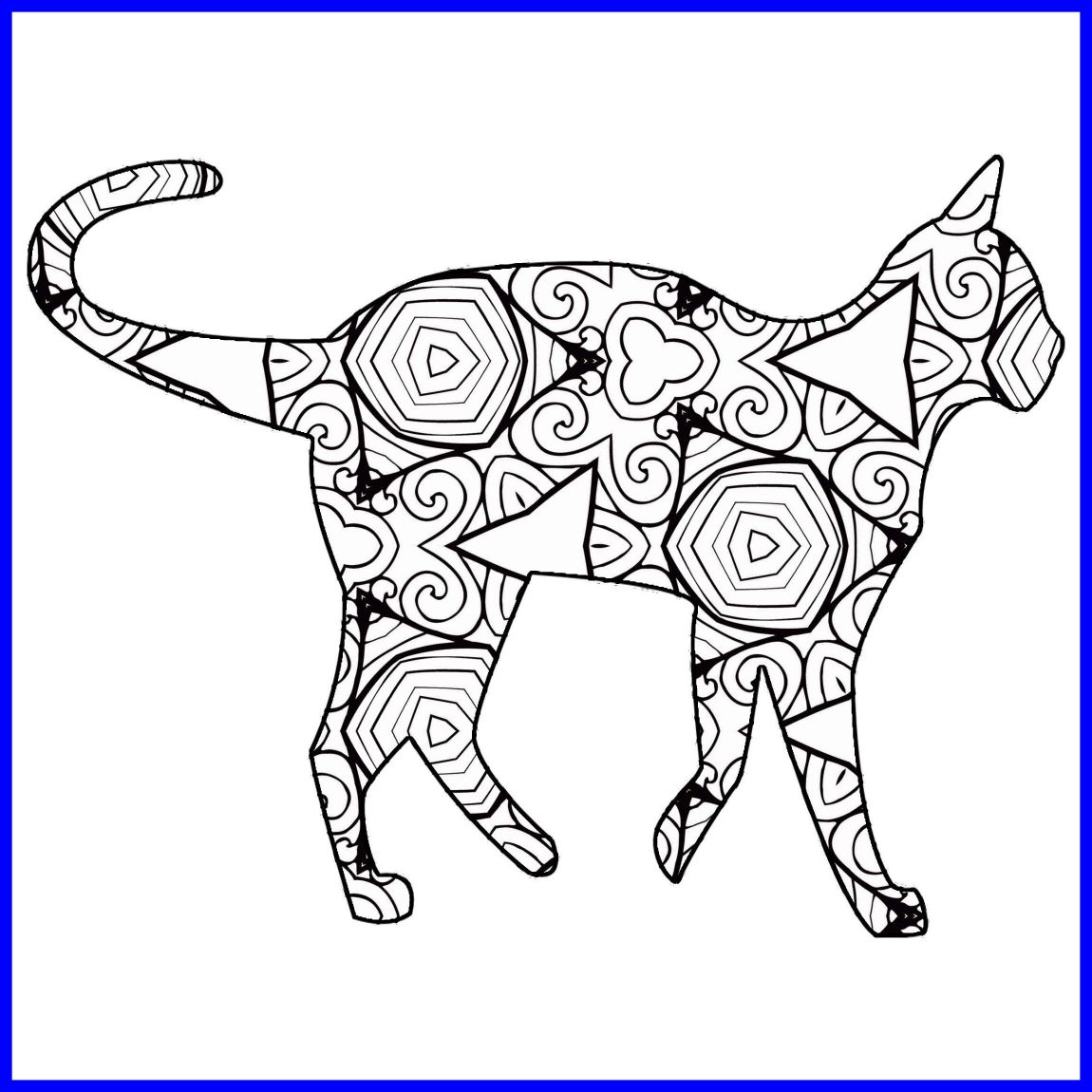 1150x1150 Shocking Geometric Cat Coloring Page Image Of Popular And Trends