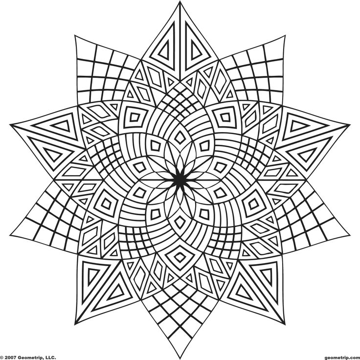 736x736 Geometric Coloring Pages