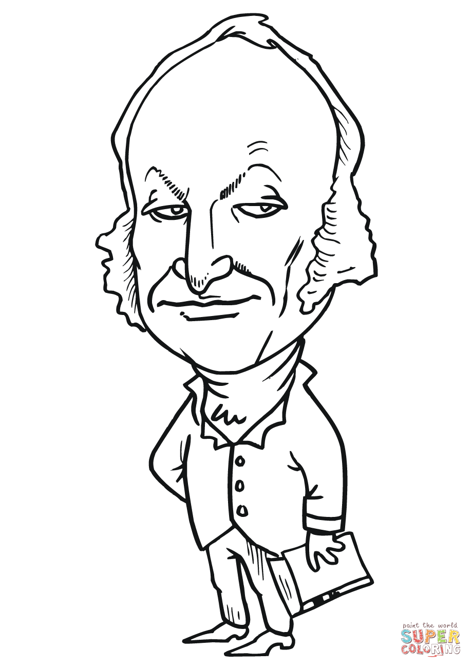 919x1300 New George W Bush Coloring Page John Quincy Adams Caricature Free