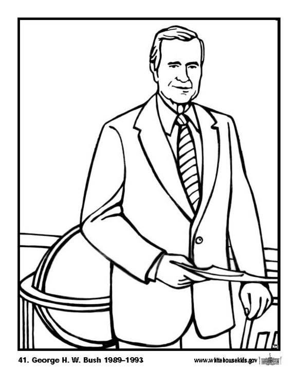 580x750 Coloring Page George H W Bush