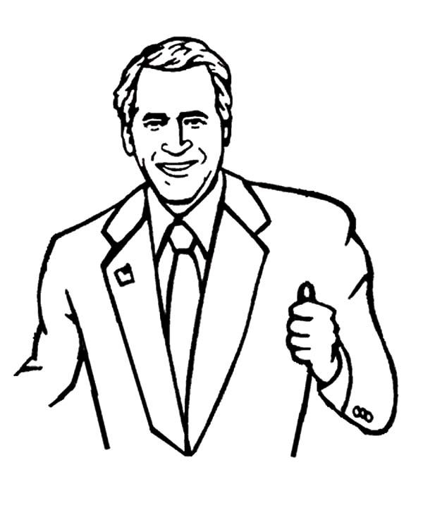 600x734 Download Php Coloringid At George W Bush Coloring Page